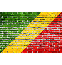Flag of republic of the congo on a brick wall vector