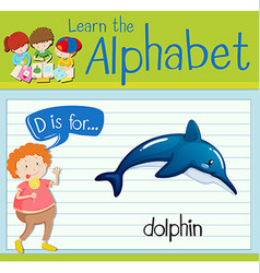 Flashcard letter D is for dolphin vector image vector image