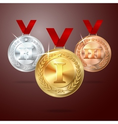 Golden silver and bronze medal set with vector