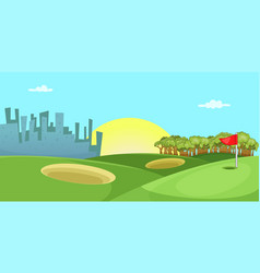 Golf course horizontal banner cartoon style vector