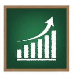 Growing graph sign White chalk effect on green vector image