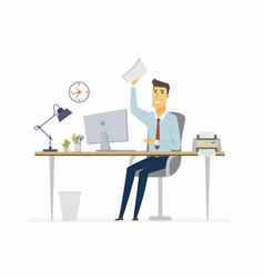 happy office worker - modern cartoon people vector image vector image