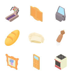 Household items icons set cartoon style vector