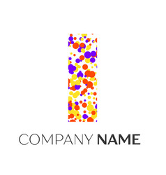 Letter i logo with purple yellow red particles vector