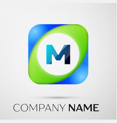 Letter m logo symbol in the colorful square vector