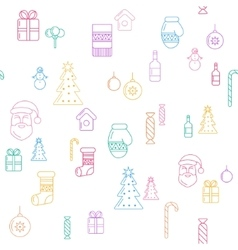 Line christmass icons seamless background vector