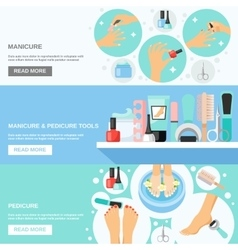 Manicure pedicure tools 3 flat banners vector