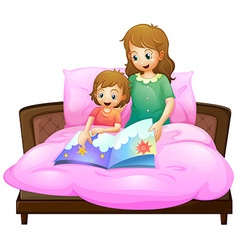 Mother telling bedtime story to kid in bed vector