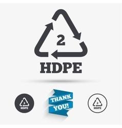 Pe-hd 2 sign icon Polyethylene high-density vector image vector image