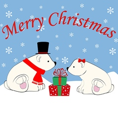 Polar bears and christmas presents vector