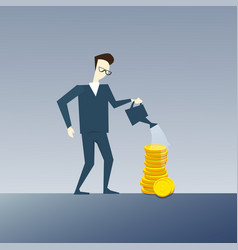 Rich business man watering coin stack money growth vector