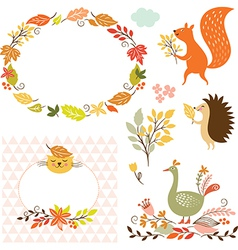set of cartoon characters and autumn elements vector image vector image