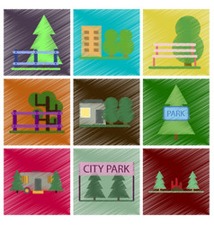 Set of flat icons in shading style parks vector