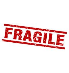 Square grunge red fragile stamp vector