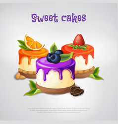 sweet cakes composition vector image vector image