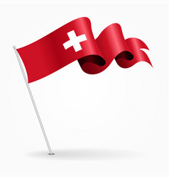 Swiss pin wavy flag vector