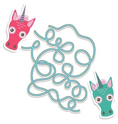 Unicorn labyrinth game for preschool children vector