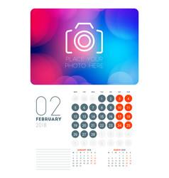 Wall calendar planner template for february 2018 vector