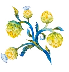 Watercolor artichoke flower vector