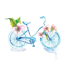 Watercolor bicycle with flowers vector image vector image