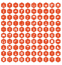 100 outfit icons hexagon orange vector