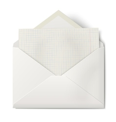Opened envelope with sheet of squared paper inside vector