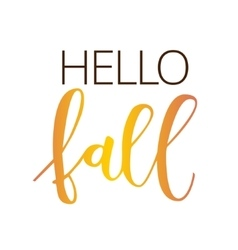 Hello fall hand written inscription vector