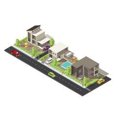 Isometric suburban district concept vector