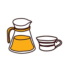 A kettle with cup vector