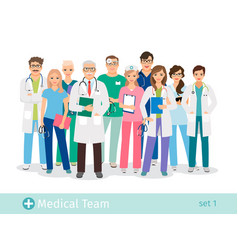 Hospital team isolated on white background vector