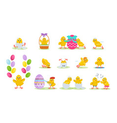 Lovely chickens have fun in easter run fly vector