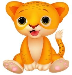 Cute baby lion cartoon vector image