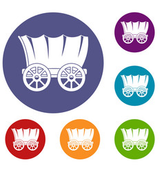 ancient western covered wagon icons set vector image