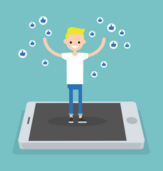young successful boy standing on mobile screen vector image