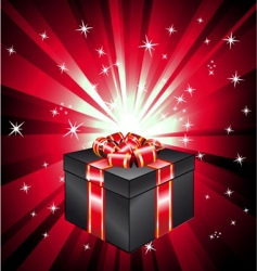 Gift box with ray lights vector