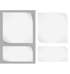 Set of white paper stickers vector