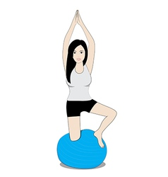 Women on balance ball vector