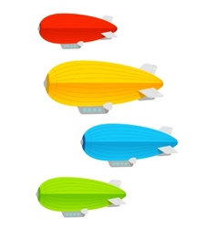 Airship colorful set vector image