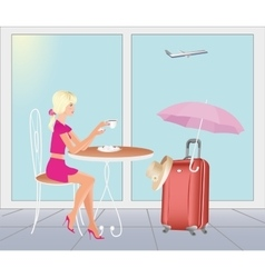 Girl at the airport in are going on vacations vector