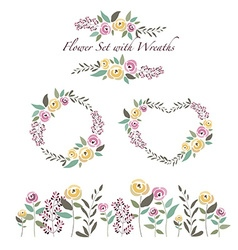 flowers and flower wreaths set in flat de vector image