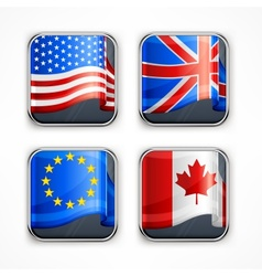 Flag square icons vector