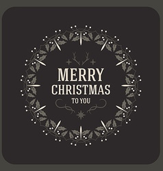 Merry christmas postcard decorative greeting frame vector