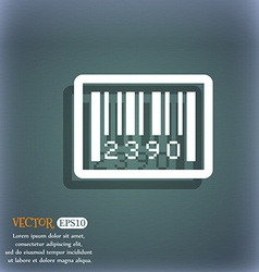 Barcode icon on the blue-green abstract background vector