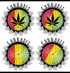 Cannabis leaf symbol jamaican colors stamps vector