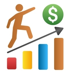 Businessman growth chart gradient icon vector