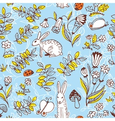 floral seamless pattern with rabbits vector image