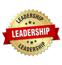 Leadership 3d gold badge with red ribbon vector