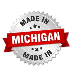 Made in michigan silver badge with red ribbon vector