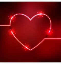 Abstract background with heart shape neon lines vector image vector image