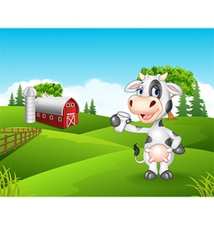 Cartoon cow holding glass in the farm vector
